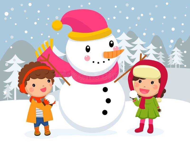 Crianças e boneco de neve felizes ilustração do vetor