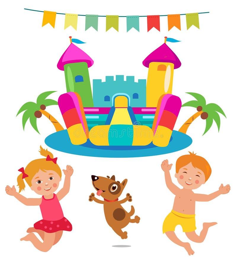 Crianças e cão de salto e grupo Bouncy do castelo ilustração do vetor