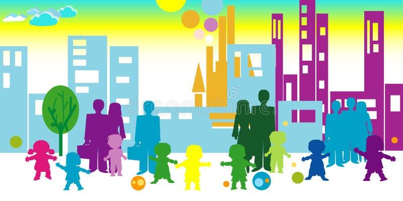 Crianças e comunidade ilustração royalty free