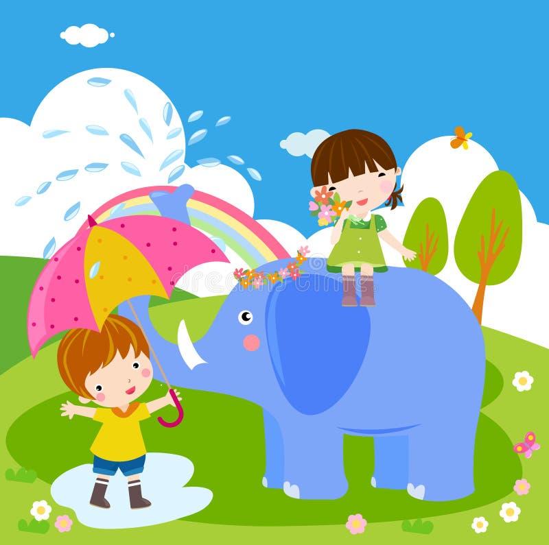 Crianças e elefante ilustração do vetor