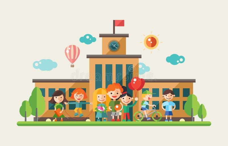 Crianças e a escola - bandeira lisa do Web site dos caráteres do projeto ilustração do vetor