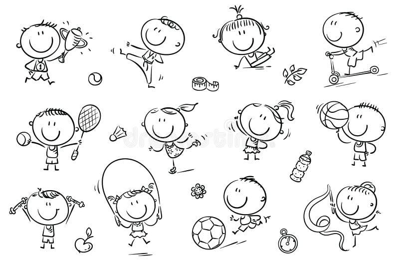 Crianças e esporte ilustração royalty free