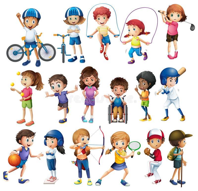 Crianças e esportes ilustração royalty free