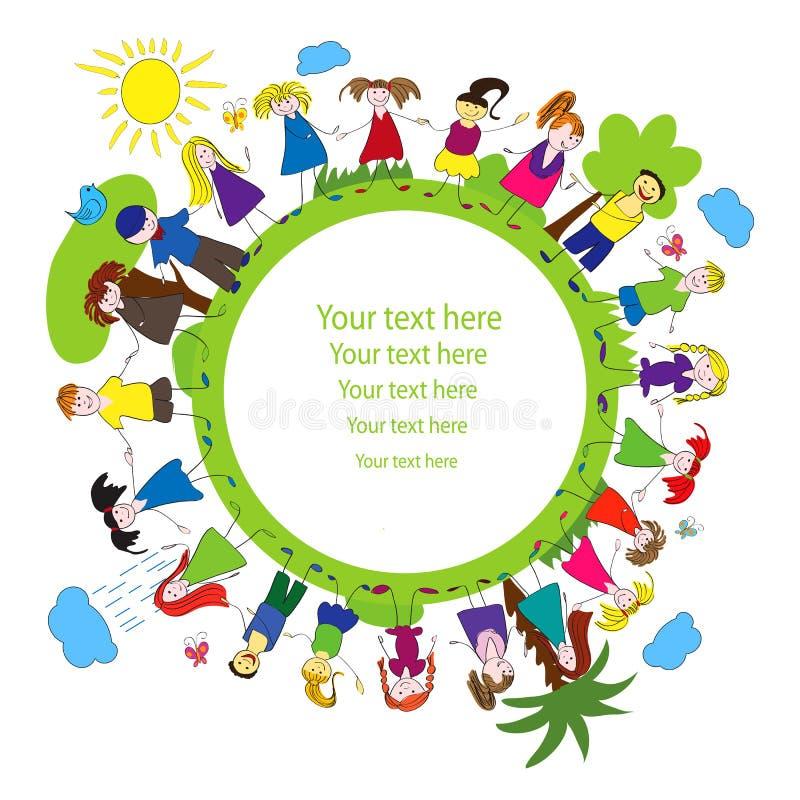 Crianças E Frame Verde Do Planeta Imagem de Stock