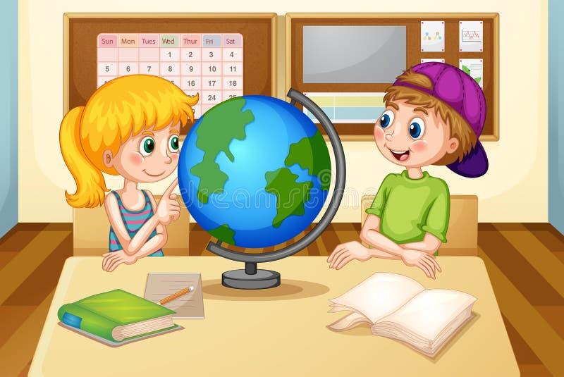 Crianças e globo ilustração royalty free
