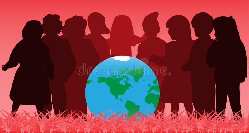Crianças e globo ilustração do vetor