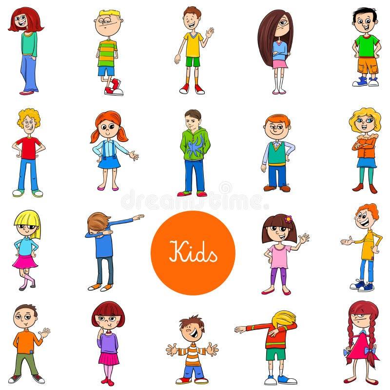 Crianças e grupo dos caráteres dos adolescentes grande ilustração do vetor