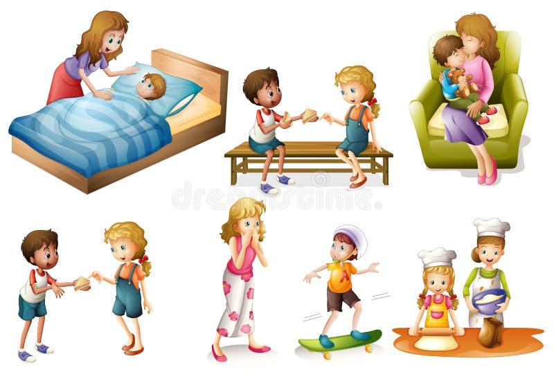 Crianças e mãe que fazem atividades diferentes ilustração do vetor
