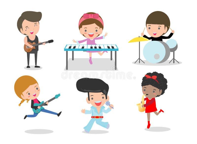 Crianças e música, crianças que jogam os instrumentos musicais, grupo de crianças que jogam instrumentos musicais diferentes, ilu ilustração do vetor