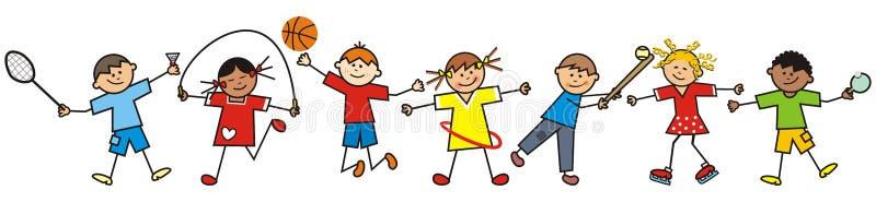 Crianças e material desportivo felizes, eps ilustração do vetor
