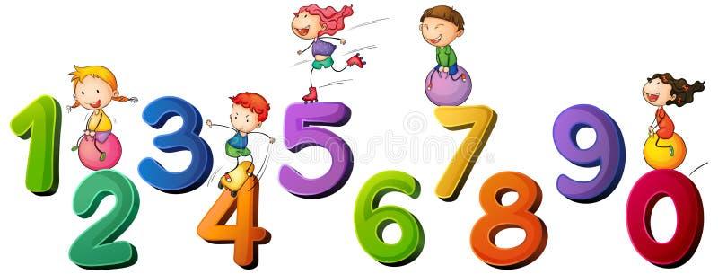 Crianças e números um zero ilustração royalty free