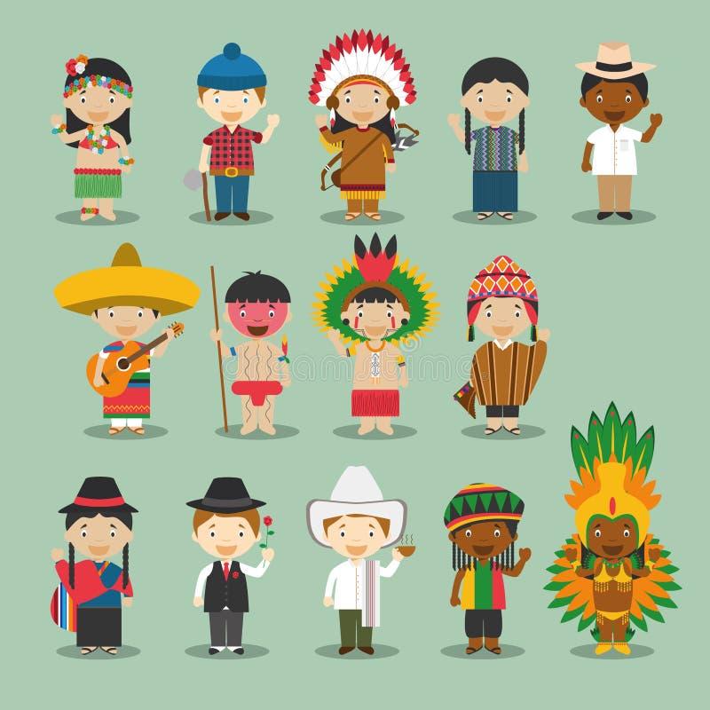 Crianças e nacionalidades do vetor do mundo: América ajustou 4 ilustração stock