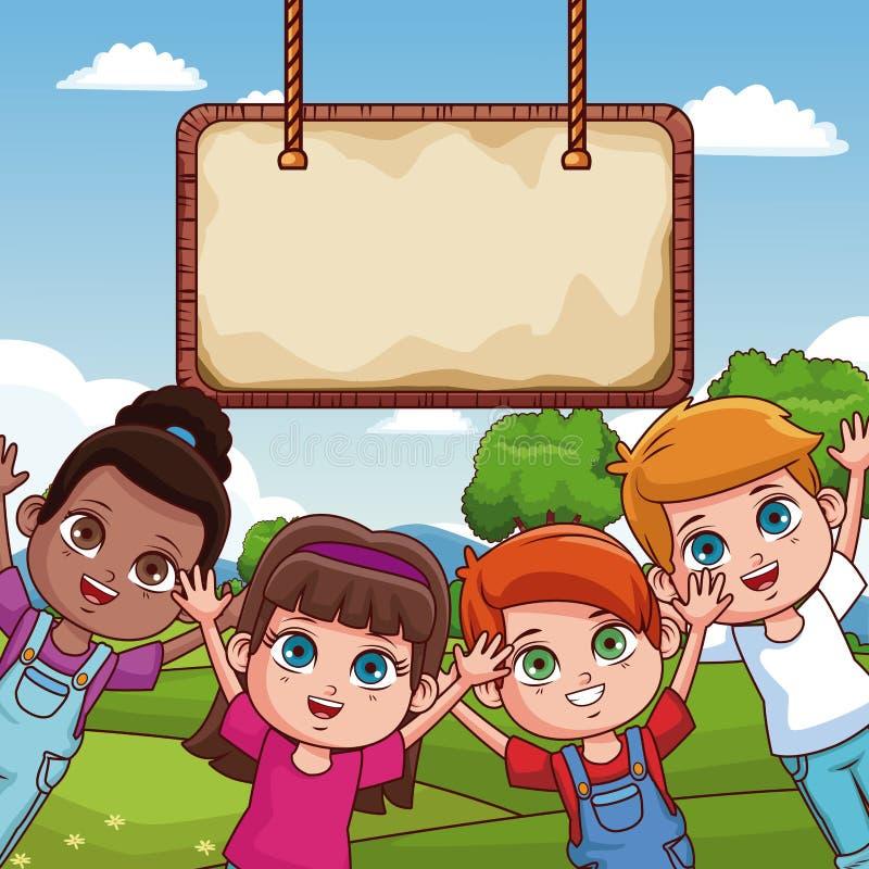 Crianças e placa de madeira ilustração royalty free