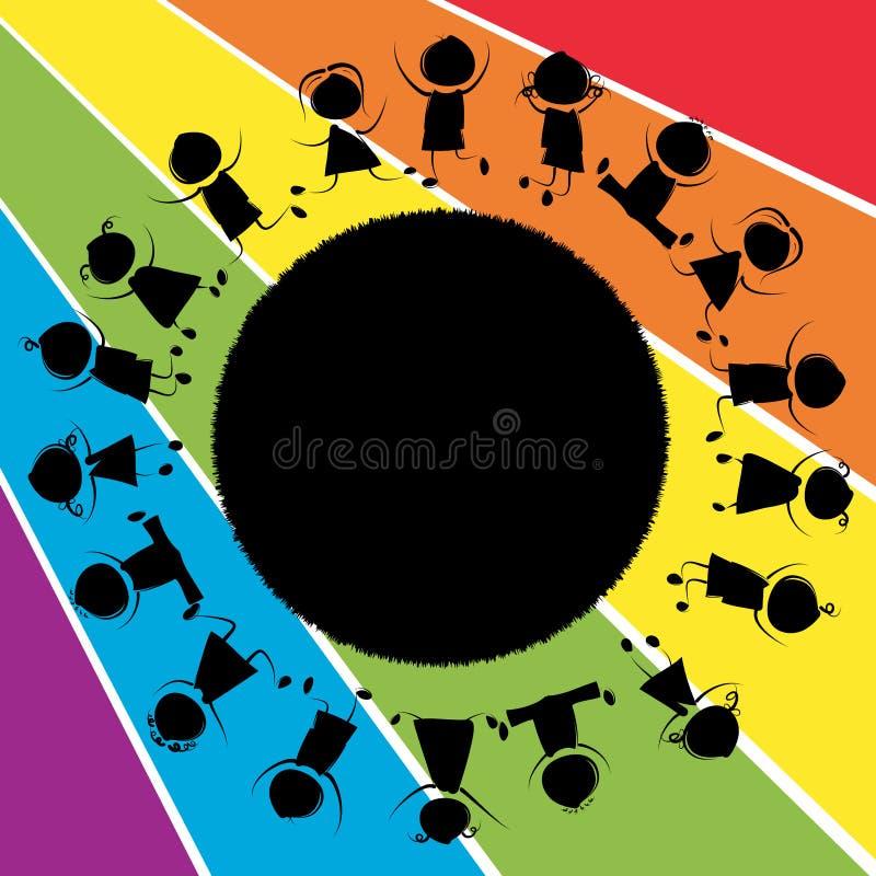 Crianças e planeta ilustração royalty free