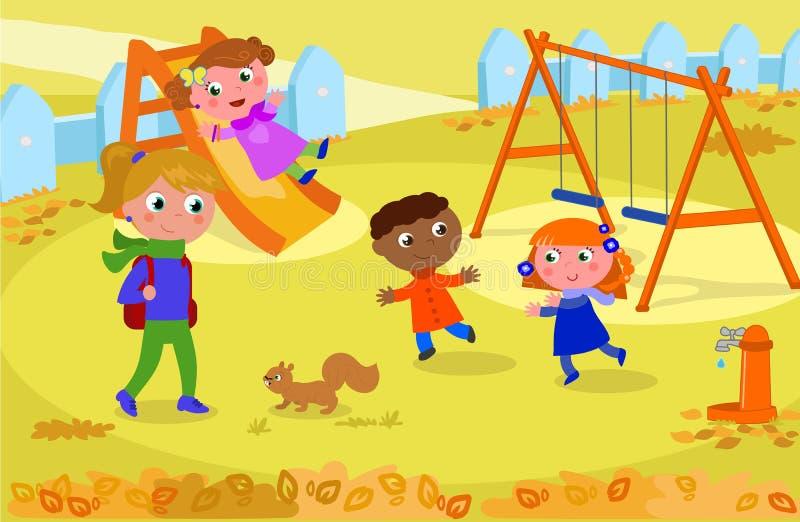 Crianças e professor no campo de jogos no vetor do outono ilustração do vetor