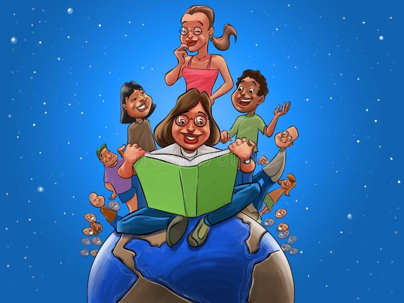 Crianças e professor que leem um livro ilustração do vetor