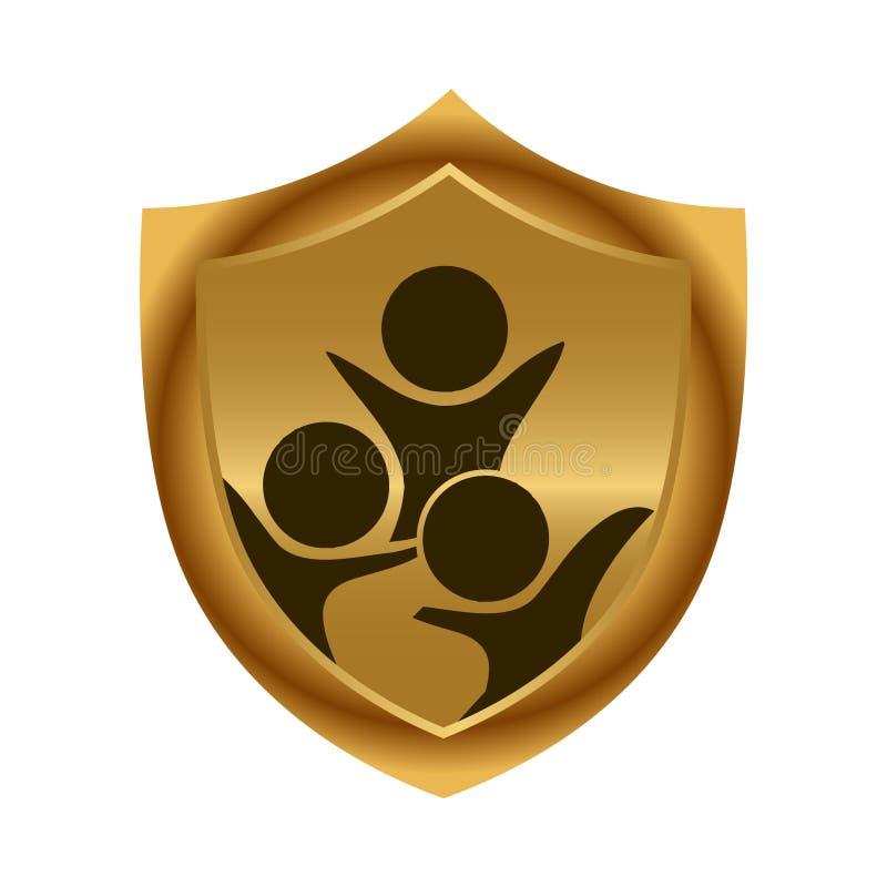 Crianças e protetor do ouro ?cone conservado em estoque Ilustra??o do vetor ilustração stock