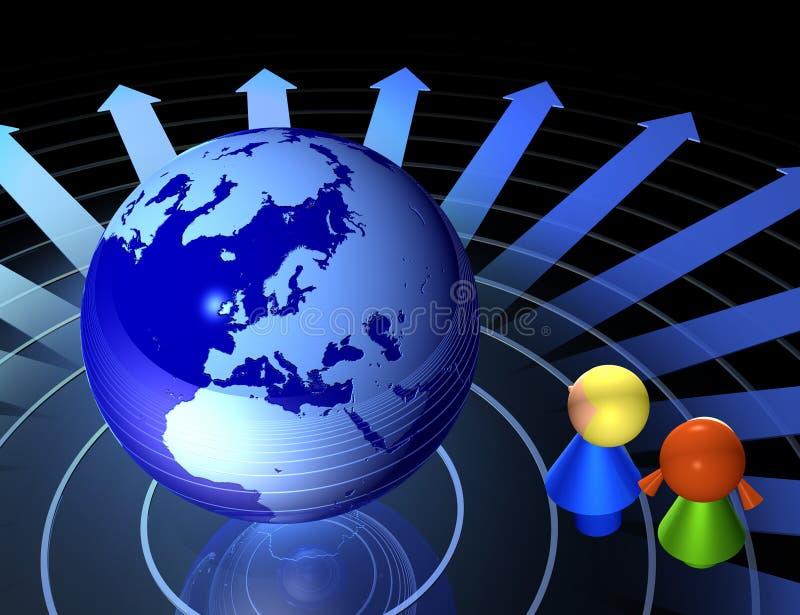 Crianças e rede global ilustração do vetor