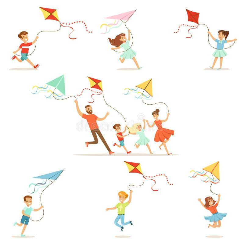 Crianças e seus pais que correm com o papagaio feliz e o sorriso Ilustrações coloridas detalhadas dos desenhos animados ilustração stock