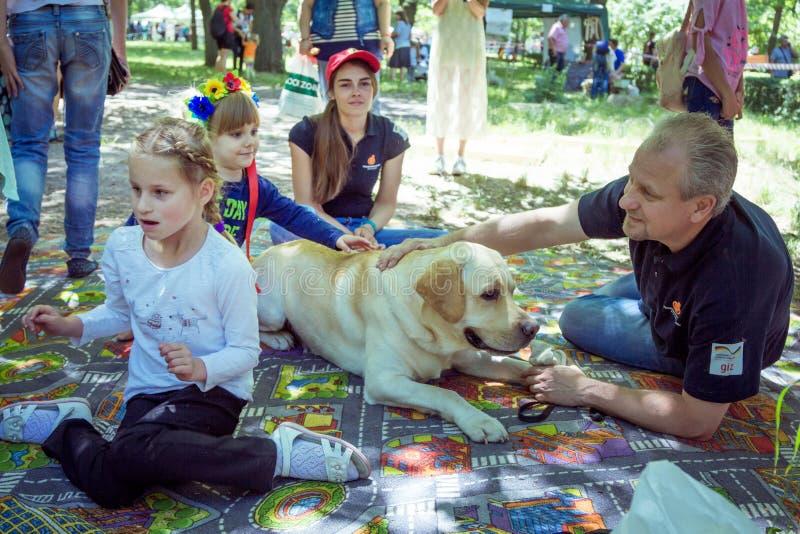 Crianças e seus pais que participam na sessão de terapia do cão imagem de stock royalty free