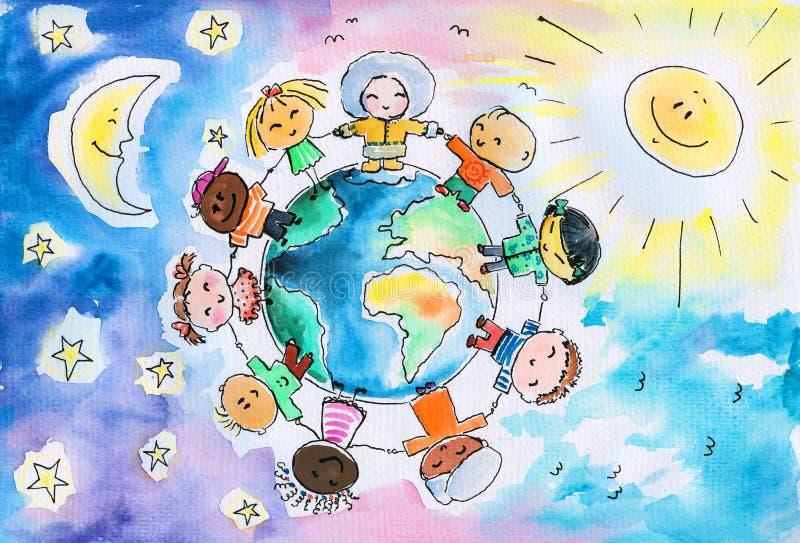 Crianças e terra ilustração stock