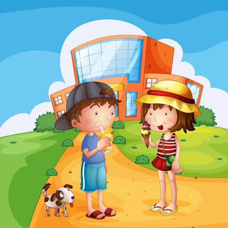 Crianças e um cachorrinho perto da escola ilustração royalty free