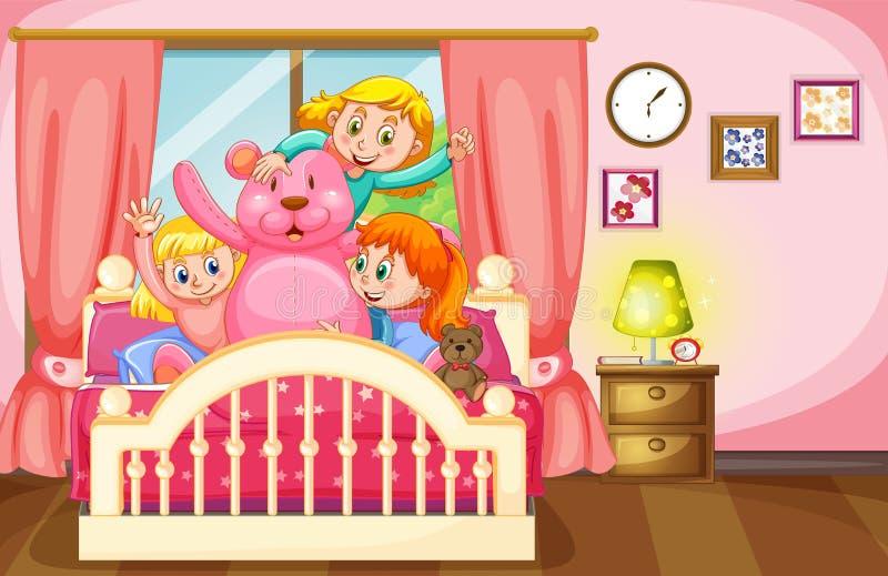 Crianças e urso de peluche no quarto ilustração royalty free