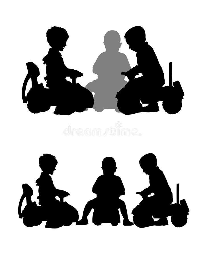Crianças em carros do brinquedo ilustração stock