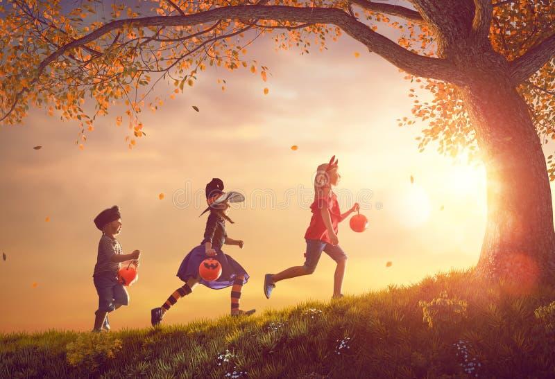 Crianças em Dia das Bruxas fotografia de stock royalty free