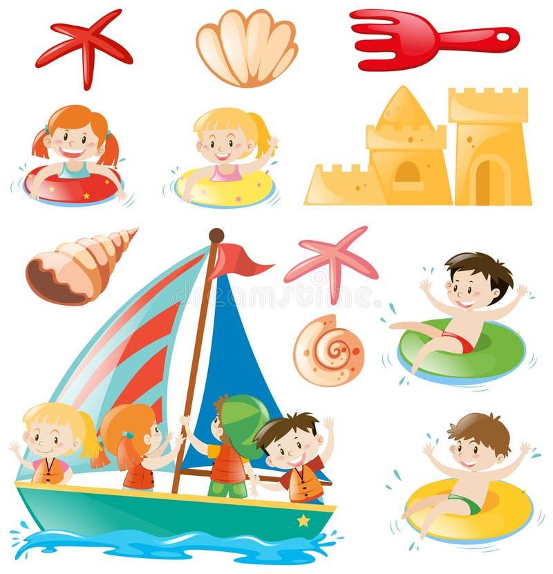 Crianças em objetos do barco e da praia ilustração stock