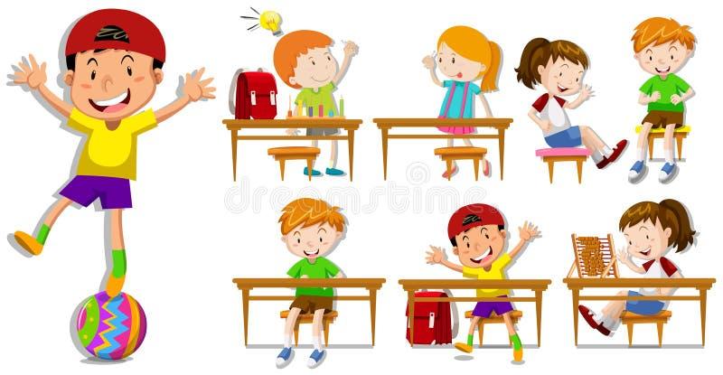 Crianças em suas mesas ilustração royalty free