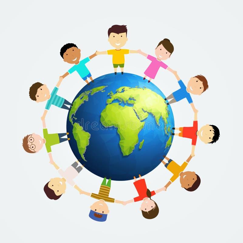 Crianças em torno da terra Amizade multinacional dos povos ilustração do vetor