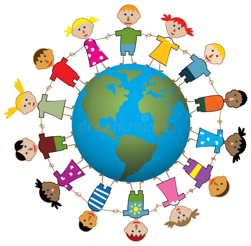 Crianças em torno do mundo ilustração royalty free