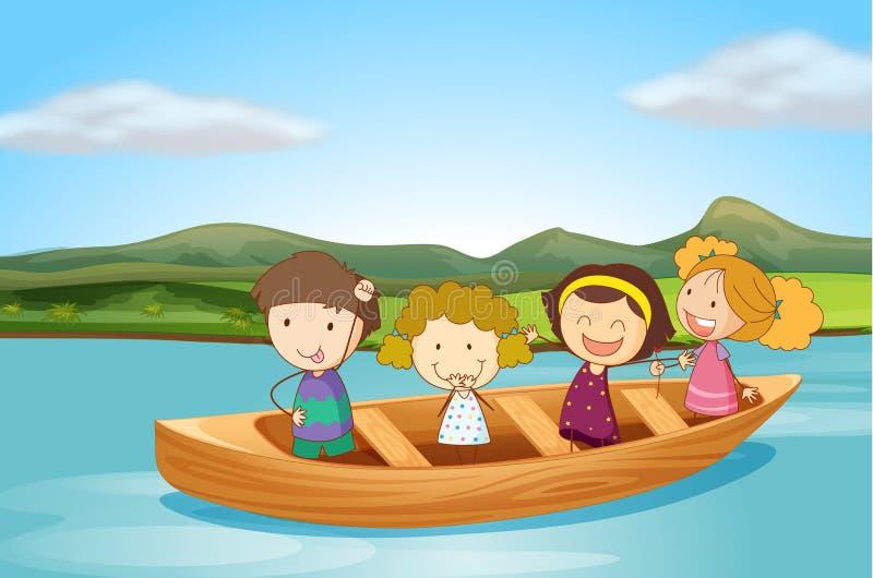 Crianças em um barco ilustração royalty free