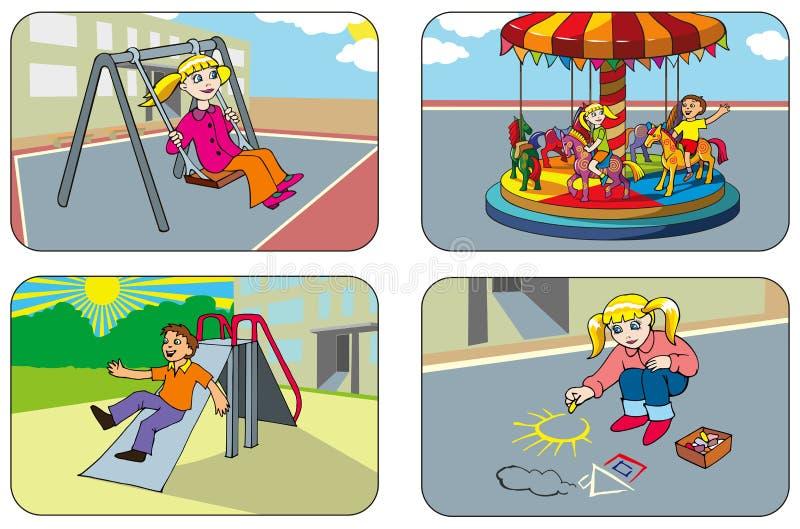 Crianças Em Um Campo De Jogos Foto de Stock Royalty Free