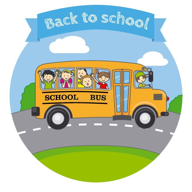 Crianças em um ônibus escolar ilustração do vetor