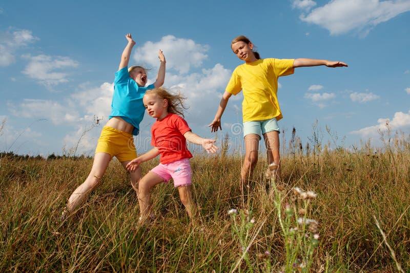 Crianças em um prado fotografia de stock royalty free