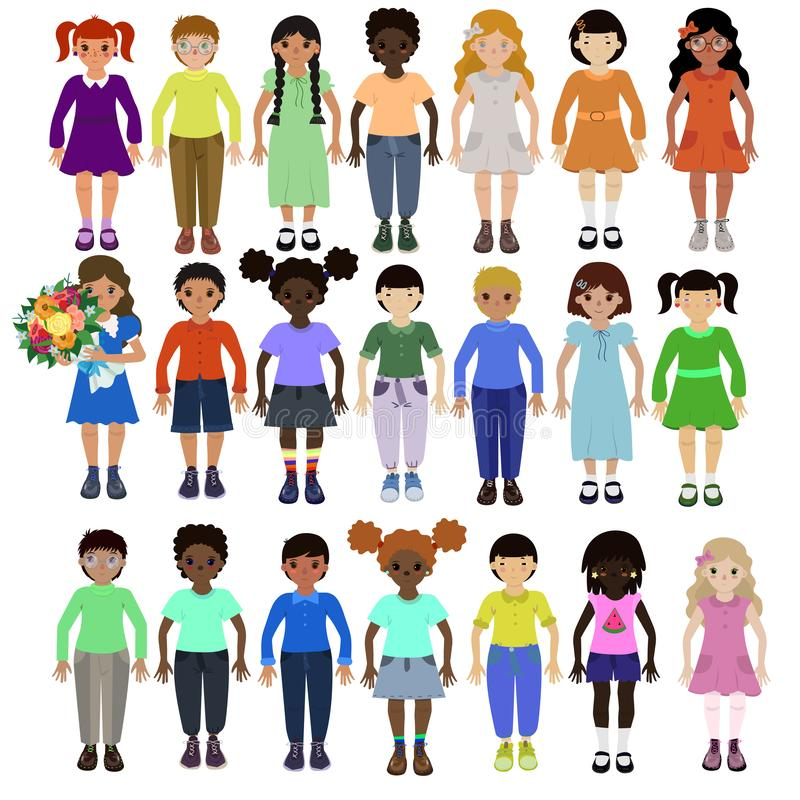 Crianças engraçadas de raças diferentes com vária imagem do vetor dos penteados e da roupa ilustração do vetor