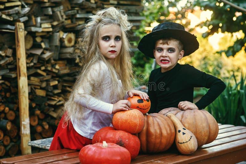 Crianças engraçadas nos trajes com abóboras foto de stock
