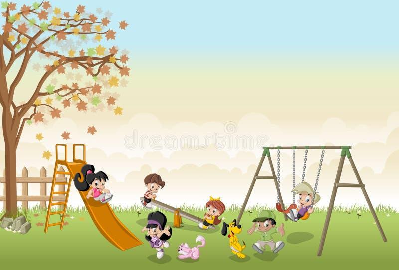 Crianças felizes bonitos dos desenhos animados que jogam no campo de jogos ilustração do vetor