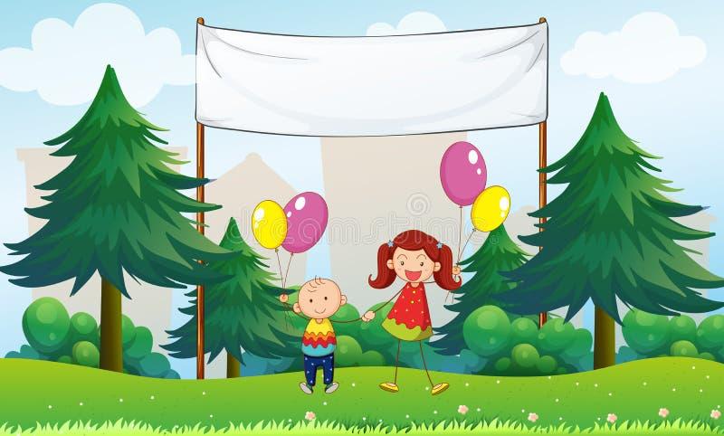 Crianças felizes com balões abaixo de um signage vazio ilustração stock