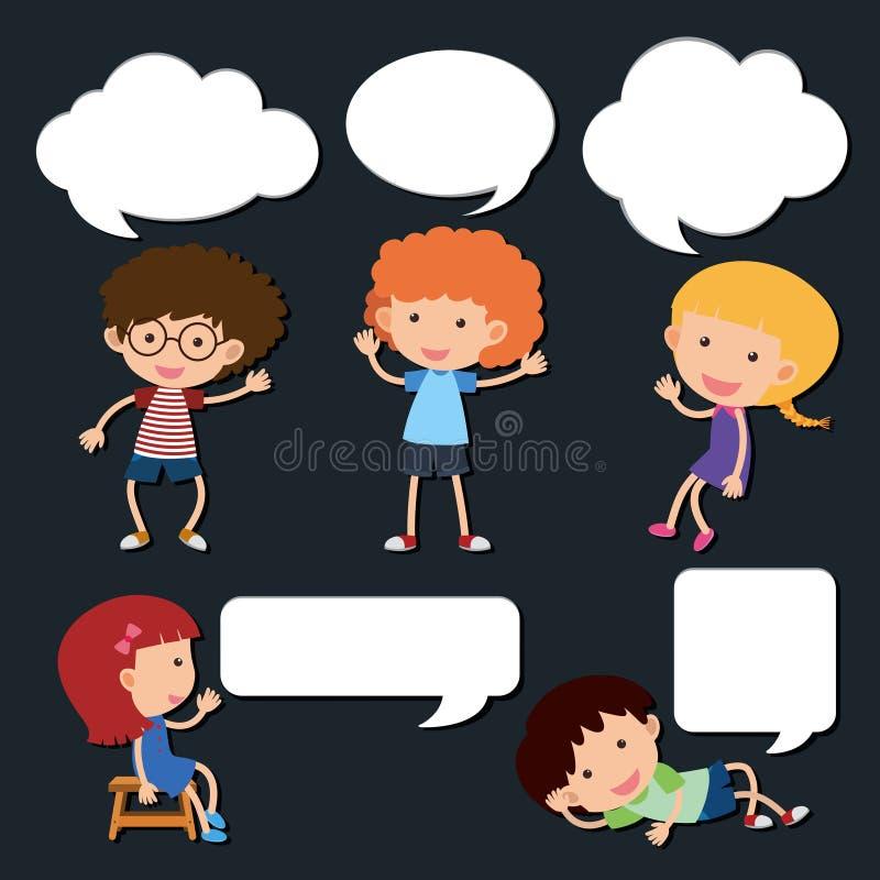 Crianças felizes com bolhas vazias do discurso ilustração stock