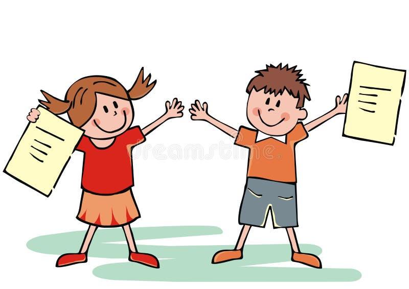 Crianças felizes com certificados da escola, ilustração do vetor ilustração royalty free