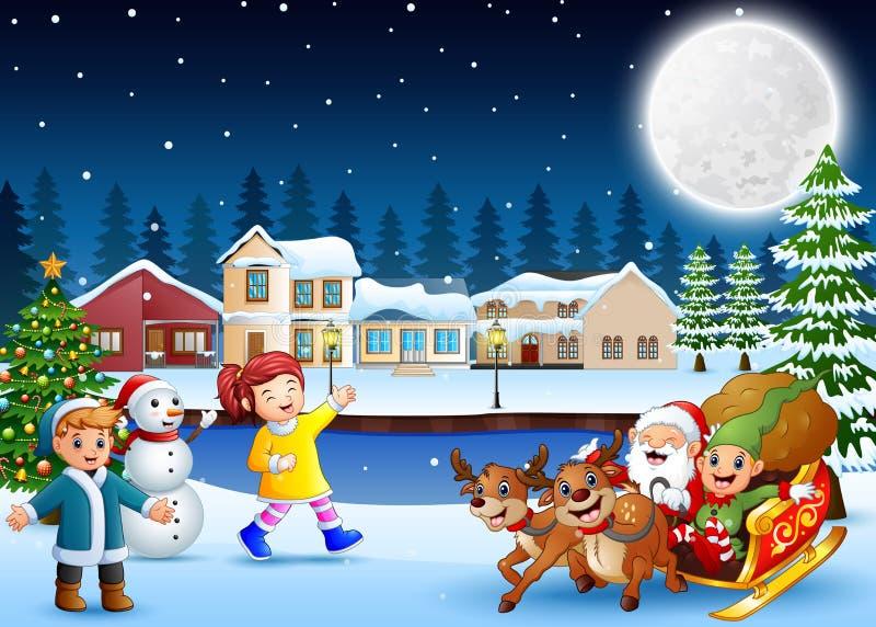 Crianças felizes com o Papai Noel e o duende que montam seu trenó na noite do inverno ilustração stock
