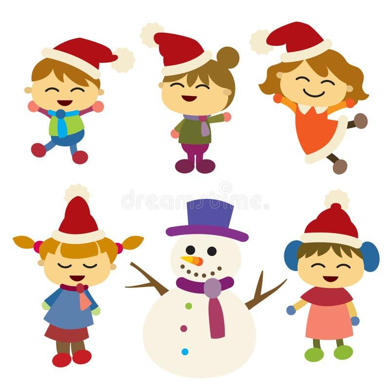 Crianças felizes com seu presente Fundo Design ilustração stock