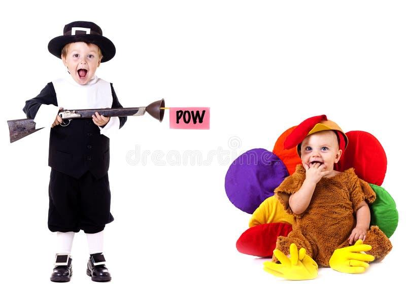 Crianças felizes da acção de graças fotografia de stock