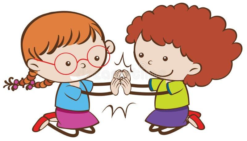 Crianças felizes da garatuja que jogam Patty Cake ilustração stock