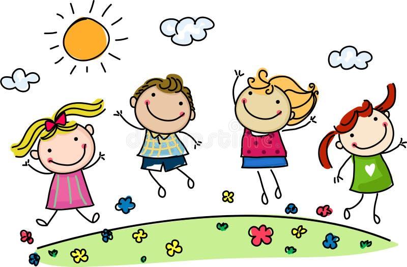 Crianças felizes de salto ilustração do vetor
