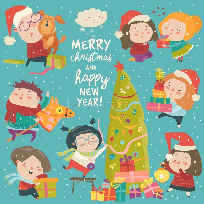 Crianças felizes dos desenhos animados com decoração do Natal Feliz Natal ilustração royalty free