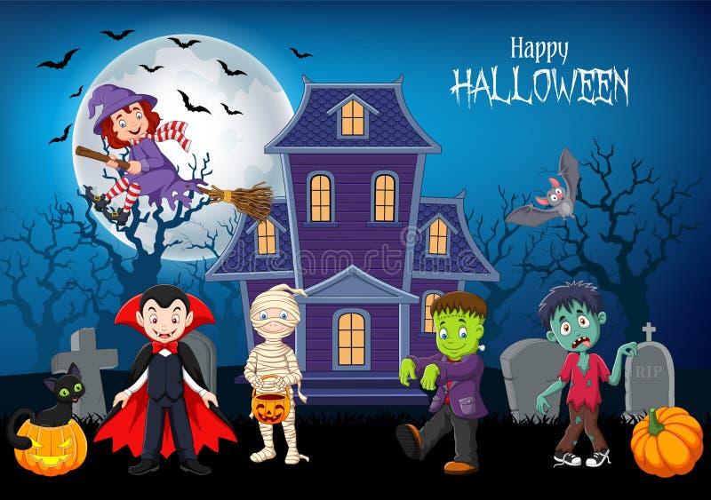 Crianças felizes dos desenhos animados com fundo de Dia das Bruxas ilustração do vetor